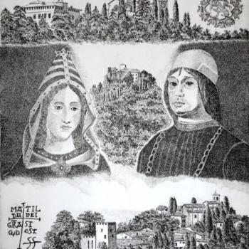 Maurizio Boiani, Matilde di Canossa e Giovanni II Bentivoglio,  acquaforte, 2016