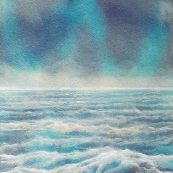 Gino Pellegrini - Mari di Achab: Prima della tempesta, 2013; Acquarello su carta, 30x220 cm