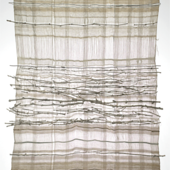 Gino Pellegrini - Bianco su bianco, 1976; Tessuto, materiali vari, 250x150 cm.